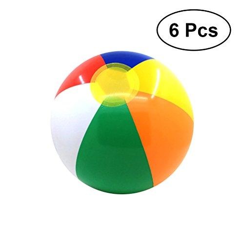 VORCOOL 6 Stücke Aufblasbare Wasserball Kinder Pool Party Balls Regenbogen Farbige Strand Pool Party Spielzeug für Kinder Kinder