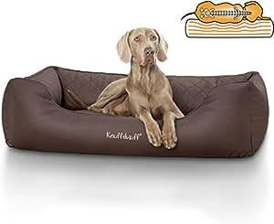 Knuffelwuff 13979-008 Orthopädisches Hundebett, Hundekissen, Hundesofa, Hundekorb, Madison aus Laser gestepptem Kunstleder, 155 x 105 cm, Übergröße, XXXL, Braun