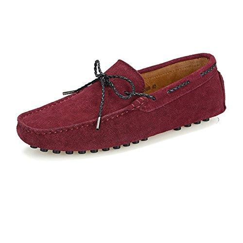 TiandaoMXL Herren Driving Penny Loafers Wildleder echtes Leder Boot Mokassins Gummi Nieten Sohle Kleid Schuhe Schuhe (Color : Wein, Größe : 38 EU) -