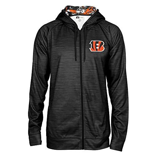 Zubaz NFL Male Kapuzenpullover mit durchgehendem Reißverschluss, Camouflagemuster, Herren, NFL Full Zip Camo Space Dye Hoodie, schwarz, Medium -