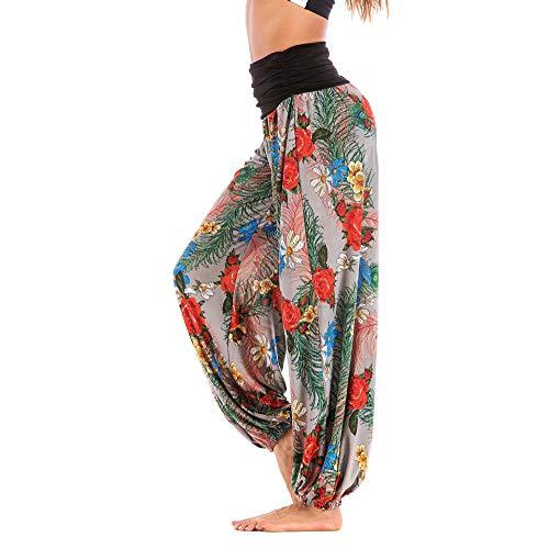 Pantalon Fluide Femme Imprimé Florale Ryures Pants Éléphant Yoga Doux Casual Losse Pantalon Sarouel Aladin Jogging Hiver(Gris,XX-Large)