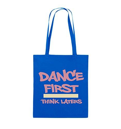 Comedy Bags - Dance first think laters - Jutebeutel - lange Henkel - 38x42cm - Farbe: Schwarz / Weiss-Pink Royalblau / Rosa-Beige