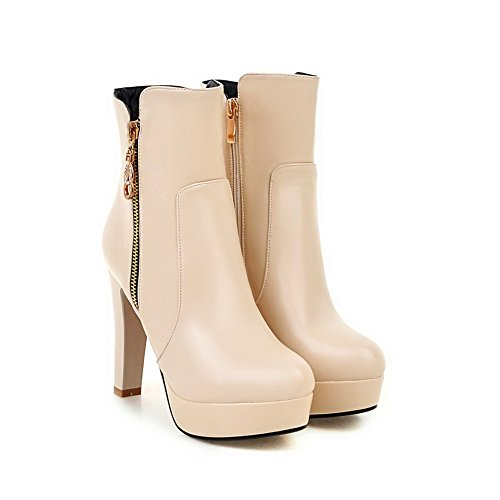 AgooLar Damen Niedrig-Spitze Hoher Absatz Rund Zehe Stiefel mit Metallisch, Aprikosen Farbe, 39