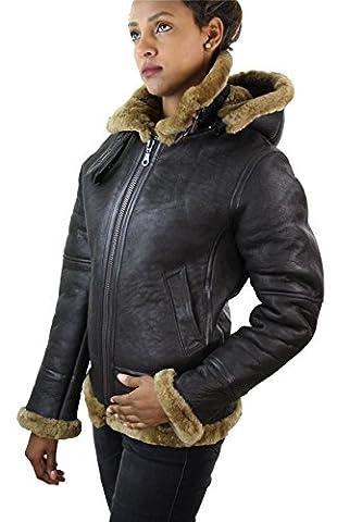 Blouson aviateur femme marron beige biscuit capuche vrai peau retournée de mouton