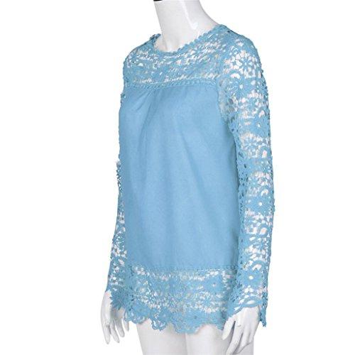 Vovotrade Mode Femme Manches Longues Chemise Occasionnels Dentelle Blouse Loose T-shirt de Taille Variable Bleu clair