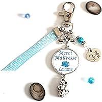 Porte clés Merci Maîtresse personnalisé avec prénom de l'enfant ou texte cadeau scolaire fin d'année