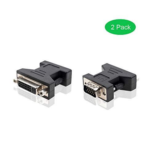 ADWITS VGA zu DVI Adapter, [2er Pack] VGA HD15 Stecker auf DVI 24 + 5 Pins Female Adapter, Schwarz - Hd15 Stecker-vga Stecker
