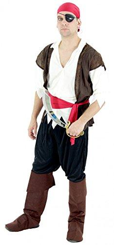 Foxxeo Piraten Kostüm für Herren mit Hose Hemd mit Weste Gürtel und Hut für Fasching und Karneval Größe L