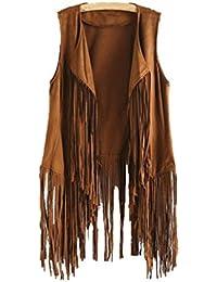 Amazon.es  chalecos flecos - Mujer  Ropa b74b34599db9