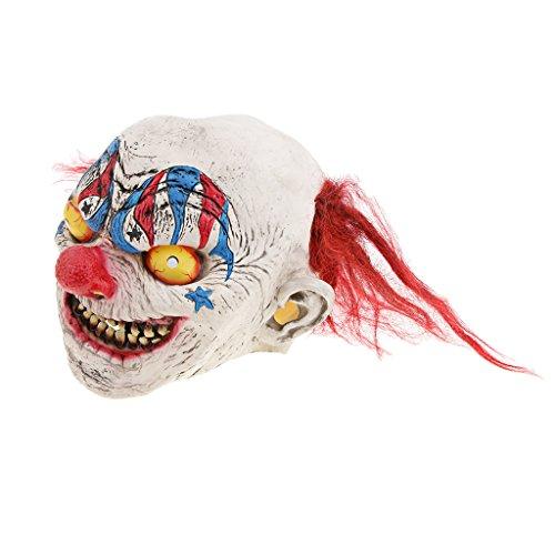 Baoblaze Horrormaske Clown Hexe und Zombie Latex Maske Halloween Cosplay und Karneval Kostüm Accessoires, Eine Größe für alle Menschen, Bequem und Atmungsaktiv - Zirkus Clown