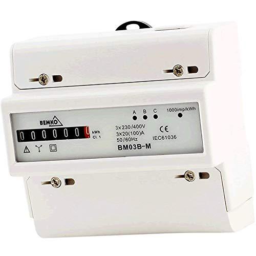 Unterstromzähler/Drehstromzähler Hutschiene 3x100A mechanisch 3-Phasen Bemko BM03B-M