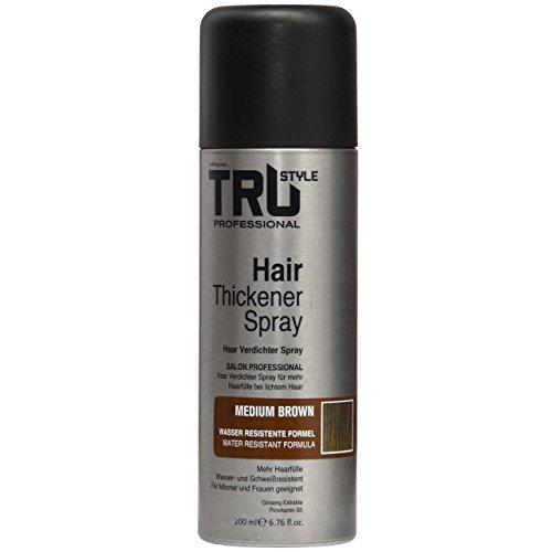 Tru Professional Haarverdichter Spray Hair Thickener, 200ml (Mittelbaun)