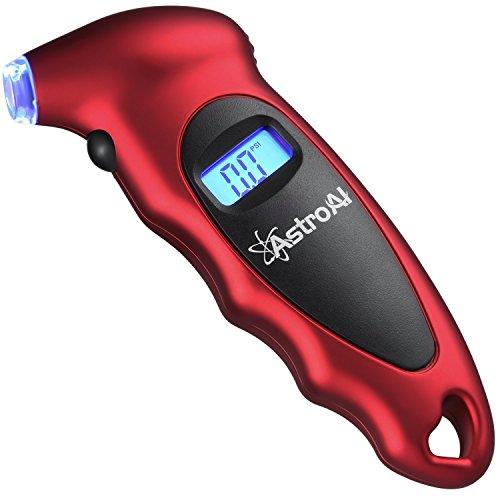 FLOUREON Reifendruck Prüfer digitaler Luftdruckprüfer mit LCD Display Reifendruckmesser für Autos LKW Motorräder Geländewagen Fahrräder(mit Autoventilen) Rot
