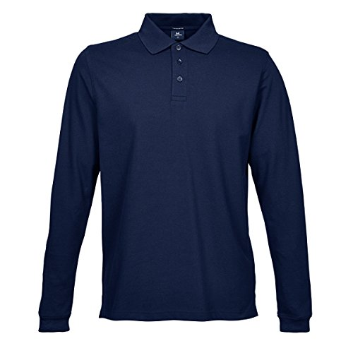Tee Jays Herren Luxury Stretch Longsleeve / Polo-Shirt, Langarm Marineblau
