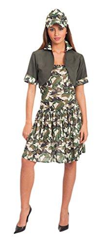 Carnival Toys - Disfraz mujer soldado en bolsa, talla única, color verde (83445)