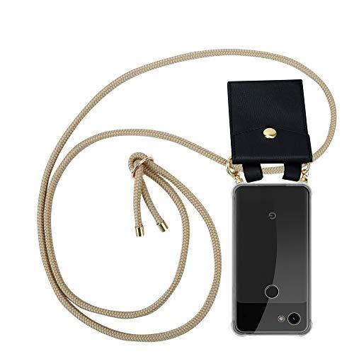 Cadorabo Handy Kette für Google Pixel 3a in GLÄNZEND BRAUN - Silikon Necklace Umhänge Hülle mit Gold Ringen, Kordel Band Schnur und abnehmbarem Etui - Schutzhülle