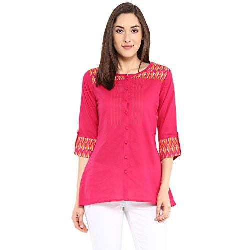 Avaana Women Cotton Straight Short Kurta Pink (XX-Large)