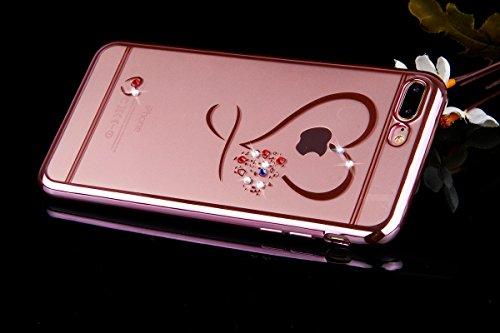 Ukayfe Elegante e Leggera Custodiai per iPhone 7/8, Crystal Case Design fiori veri per iPhone 7/8 in trasparente, Bella Clear View Ultra Slim Sottile Morbida Soft TPU Silicone Gomma Gel Glitter Brilla Doro#1