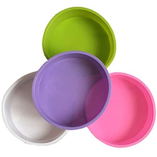 Moldes de silicona para tartas, 4 unidades, redondos, 6 pulgadas, antiadherentes, bandeja para hornear...