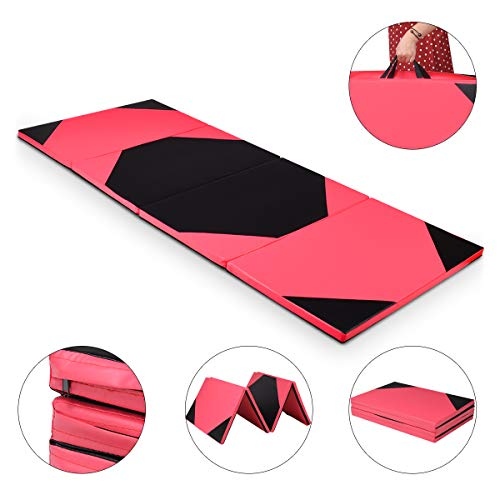COSTWAY Weichbodenmatte 300 x 120 x 5 cm | Gymnastikmatte klappbar | Yogamatte verbindbar | Turnmatte groß | Klappmatte | Fitnessmatte Farbwahl (Rot)