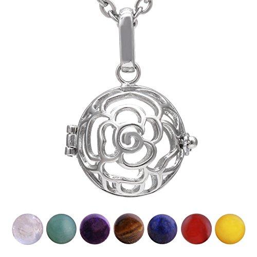 Morella Damen Halskette 70 cm Edelstahl mit Anhänger Rosen und 7 Edelsteinen Chakren-Kugeln in Schmuckbeutel (Rose Blume Schmuck-set)