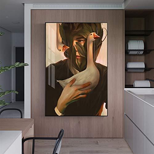 xingbu Kein Rahmen Abstrakte Comic Poster und Print Moderne Schmetterling Vogel Pflanze Leinwand Malerei für Wohnzimmer Mädchen Zimmer HD Stilvolle Nordic Wandkunst 30x40 cm
