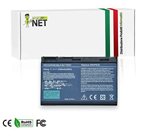 New Net - Standard Serie GRAPE32 Batteria compatibile con Portatile Acer Extensa 5100 5210 5220 5230 5230E 5320 5420 5610 5620 5620G 5620Z 5630 5630EZ 5630G 5630Z 7220 7620 (6 Pile 5200mAh 11.1V Nero)