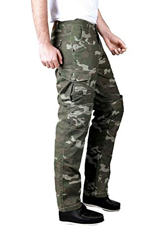 Force Riders Pantalones cargo de motocicleta para hombre con forro de Kevlar DupontTM - camuflaje verde militar