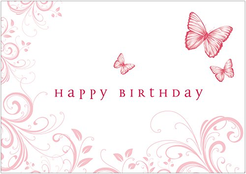 Glückwunschkarte zum Geburtstag (Grußkarte/Klappgrusskarte/Liebe/Geburtstagskarte) mit Ornamenten und Schmetterlingen in zartem Rosa/Rot. Text Englisch: Happy Birthday (Mit Umschlag) (1)