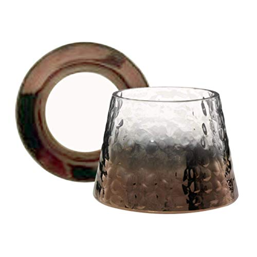 YANKEE CANDLE Sheridan - Pantalla para lámpara y Plato (Cristal, tamaño Grande), Color Bronce