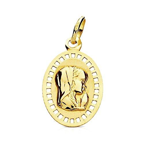 Medalla Oro 9K Virgen Niña 19mm. Marco Calado Cuadros Oval Centro Liso - Personalizable - Grabación Incluida En El Precio