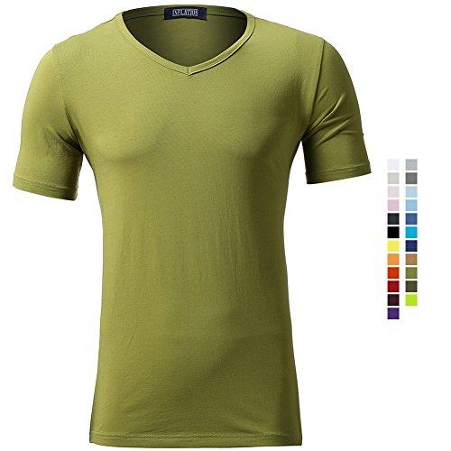 Casual Herren T-Shirt Kurzarm Shirt Klein V-Ausschnitt Slim Fit Einfarbig Elastisch Figurbetont Meliert Tee Jungendliche Vintag Shirts Elastisch Grassgrün M