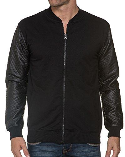 BLZ jeans - Zip Sleeve Cardigan Black Leather Effect - Color: Schwarz, Size: XS -