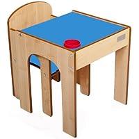 Preisvergleich für Little Helper FS01MB - Original Holz FunStation Kleinkind Tisch und Stuhl Set mit Stiftehalter 24m+, natur/blau