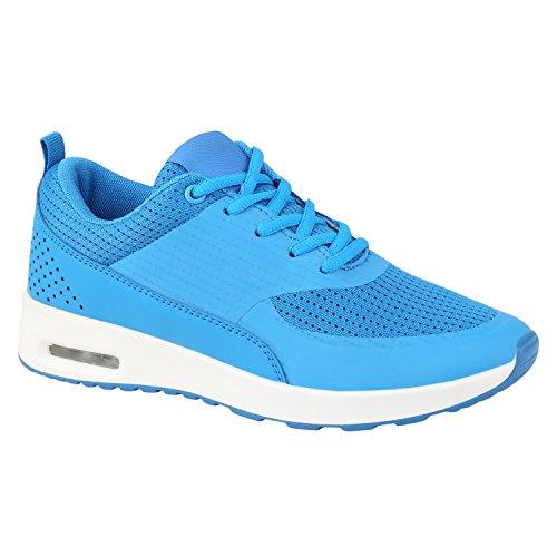 Damen Herren Laufschuhe Profilsohle Sportschuhe Fitness Turnschuhe Moon Blau