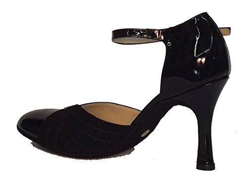 Vitiello Dance Shoes  Standard camoscio e verniciato, Damen Tanzschuhe Schwarz Nero Nero