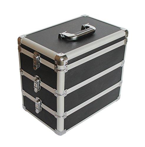 Preisvergleich Produktbild KScase Aluminium Kosmetikkoffer Etagenkoffer 3 Ebenen LxBxH 365x240x333mm (Schwarz)