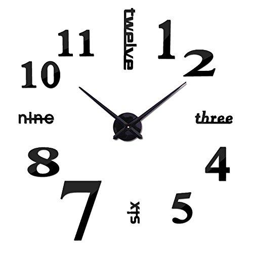 OOFYHOME Wanduhr DIY Mode Kunstuhr Digitaluhr Stille Nicht Tickende Uhr  Wanduhr 3D Stereo Digitaluhr Wandaufkleber
