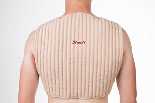 Le parement pour les cervicales et l'épaule STAUDT combat les douleurs à la nuque et à l'épaule, les tensions à la nuque et les maux de tête dus au stress. À utiliser de nuit, c'est une bonne alternative aux compresses chauffantes, aux cache-cols, aux minerves, aux appareils de massage de la nuque et aux bouillottes. (SomniShop Set B 400)