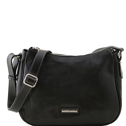 Tuscany Leather Cristina - Sac bandoulière en cuir Marron foncé Sacs à bandoulière en cuir Noir