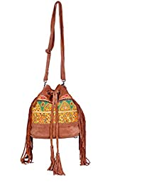 IndiWeaves Women Vintage Handmade Kilim Leather Handle Cross Body Sling Bag - B07658LRXK