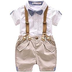 455d65c685d5 Luoting 4pcs Conjunto de Ropa de Bautizo Camiseta Pantalones Cortos para  Bebé Niño Smoking Elegante -