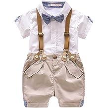 6843928ad Luoting - 4pcs Conjunto de Ropa de Bautizo Camiseta Pantalones Cortos para  Bebé Niño Smoking Elegante