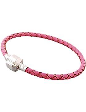 Charm Buddy Charm-Armband für Junge/Mädchen/Kinder Rosa 15cm für Pandora-Charm-Perlen, Leder