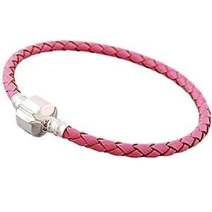 Charm Buddy 20cm Ladies Womens Standard Size Pink Leather Charm Bracelet