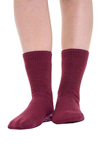 Frauen Mädchen Winter Weich Warm Thermo Gripper Hüttenschuhe Bett Socken UK 6-11 (UK 6-11 / EU 39-45) Maroon