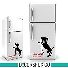 Idea Regalo - Decalcomanie autoadesive in vinile per frigorifero, formato A4, colore: nero, decorazioni artistiche da parete per la cucina, motivo: cane con scritta in lingua inglese