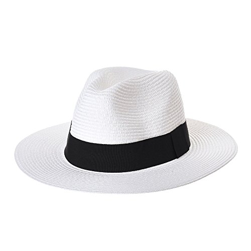 3be115069eb WITHMOONS Sombrero Panamá Fedora Panama Hat Black Banded Wide Brim Cool  Summer SL6690 (White)
