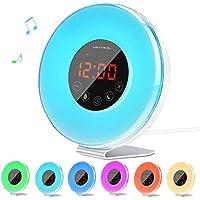 LED Mit Smart Snooze Wecker Weckleuchte, Tragbarer Farbiger Digital-Wecker USB Aufladbarer FM Radio, Naturgeräusche... preisvergleich bei billige-tabletten.eu