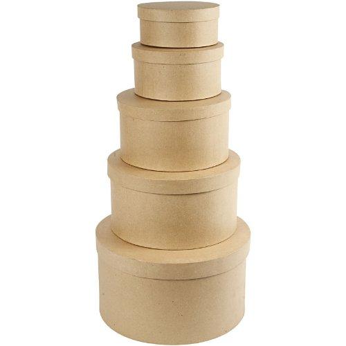 Creativ Hutschachtel aus Pappmaschee, rund, 35,5cm, 5 Stück Runde Box